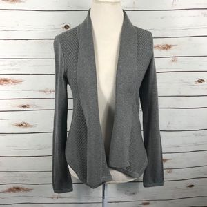 WHBM Gray Open Cardigan Basketweave Knit Sweater